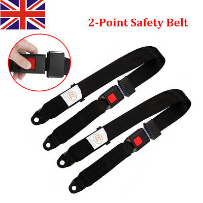 2X Adjustable Universal Car Truck Two Point Seat Belt Lap Safety Security Belts