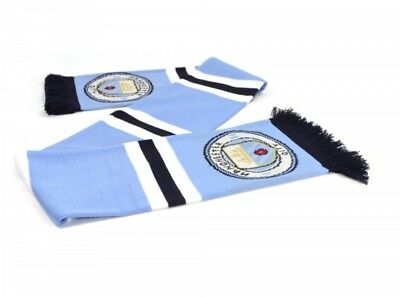 Manchester City Football Club Scarf Blue White Jacquard Badge Crest Official