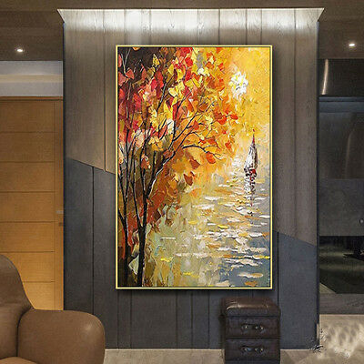 Hand Painted Abstract Oil Painting on Canvas Wall Art Golden Tree