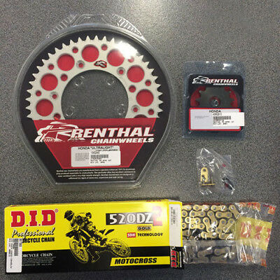 Renthal Sprocket Kit & DID Heavy Duty Chain Gold fits Honda CR125 R X All Years