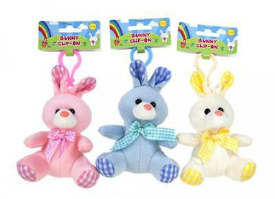 Easter Pastel Clip On Plush Bunny Rabbit Soft Cuddly Toys