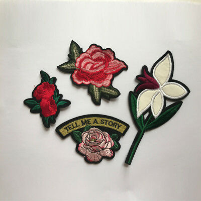 New Embroidered Rose Flower Applique Iron On Sew On Patch Clothing DIY Sticker