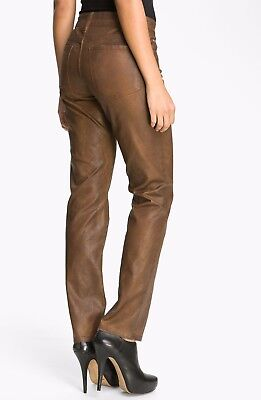 NWT NYDJ Not Your Daughters Jeans TERRA TAN Brown Leather Look SKINNY Size 12P