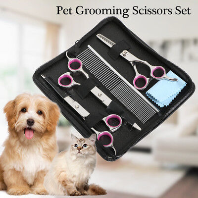 "7"" Professional Hair Cutting Dog Pet Grooming Scissors Set Kit Curved Shear Tool"
