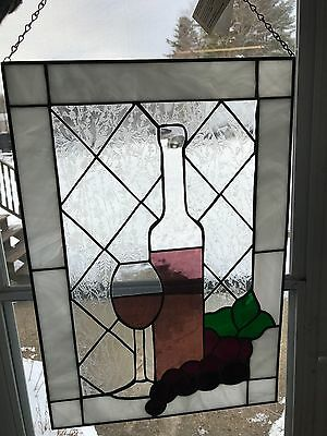 Wine Bottle and Glass Panel in Stained Glass Made in the USA