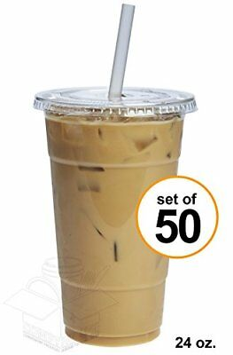 COMFY PACKAGE Cups 50 Sets 24 Oz. Plastic CRYSTAL CLEAR With Flat Lids For Cold