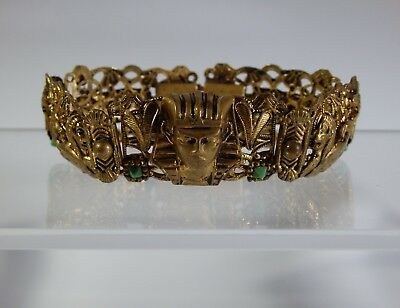 1920/30s-NEIGER BROTHERS-ART DECO EGYPTIAN REVIVAL BRACELET WITH CZECH GLASS