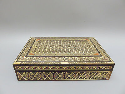 """Antique rare I mosiac jewellery box with mother of pearl inlay 11.5"""" wide"""