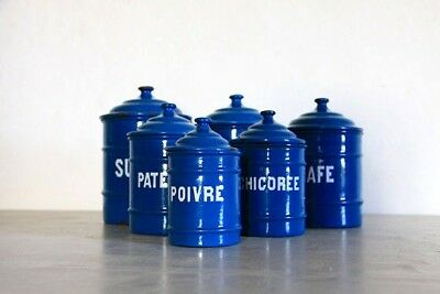 Antique Vintage Enamel Canisters, Nesting Canister Set of 6, Farmhouse Decor