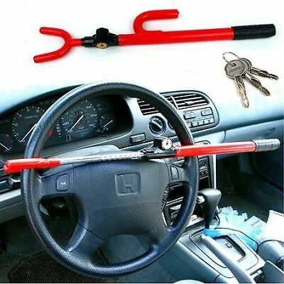 Anti Theft Steering Wheel Lock Double Hook Extendable Car Van Steel Security New