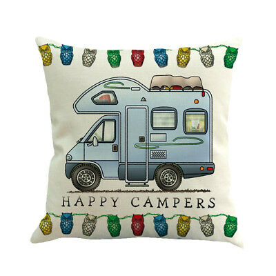 Funny Home Decor Ornate HAPPY CAMPERS Sofa Waist Throw Cushion Cover Pillow Case
