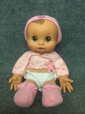 2007 Hasbro Baby Alive Cuddle Me Baby Brunette Brown Eyes Pink Shirt Soft Body!