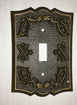 Vtg Cast Metal Single Toggle Light Switch Plate Outlet Cover Scrolls Copper Wash