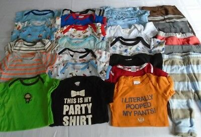 Used 26 Pc. Lot Of Baby Boy Clothes/bodysuits 3-6 Months Euc/vguc