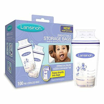 Lansinoh Breastmilk Storage Bags 100 Count BPA and BPS Free Zipper Seal Freezing