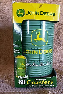 John Deere 80 Absorbant Drink Coasters In Silo Metal Dispenser;IN BOX