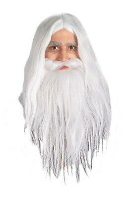 Gandalf Wizard Lord Of The Rings White Wig Beard Set Halloween Costume Accessory