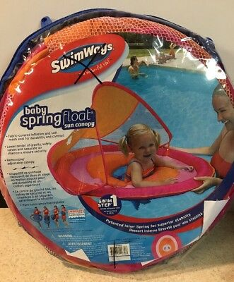 Swimways Baby Spring Float Sun Canopy Inflatable Swimming Pool Float Raft Pink  sc 1 st  PicClick & SWIMWAYS Baby Spring Float Sun Canopy Inflatable Swimming Pool Float ...