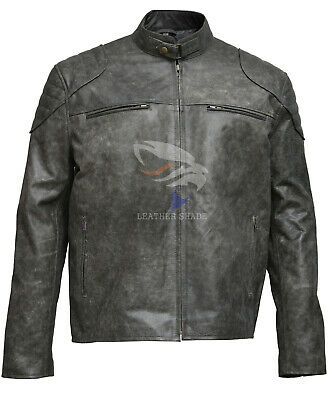 Men's Antique Vintage Distressed Retro Motorcycle Real Leather Biker Jacket