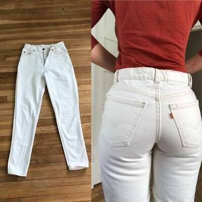 VTG 80s 90s HIGH WAIST White LEVIS Denim REDONE Straight Skinny JEANS HIPPIE 26""