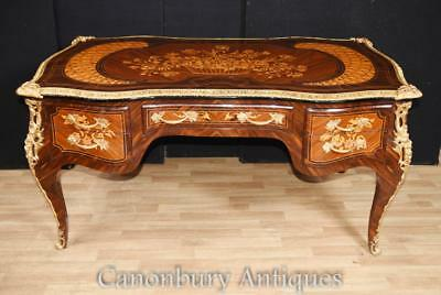 French Empire Bureau Plat Desk Marquetry Inlay Writing Table