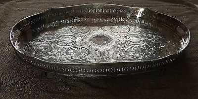 """Antique Large Sheffield Silver on Copper Claw Feet Serving Tray 24"""" x 15"""""""