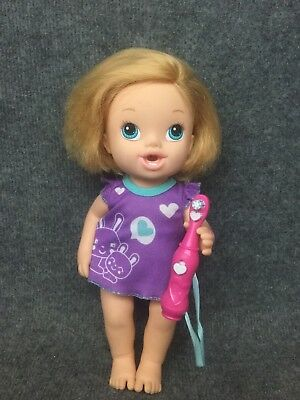 "Baby Alive Brushy Brushy Doll With Tooth Brush Purple Shirty Blonde 11"" 2013"