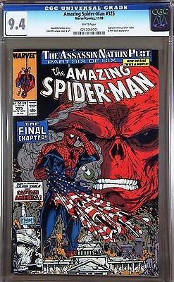 Amazing Spider-Man #325 Cgc 9.4 Wp - App By Capt America Silver Sable Red Skull