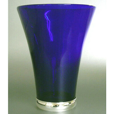 Silver & Glass Blue Flower Vase.   Hallmarked Silver & Cobalt Blue Flower Vase