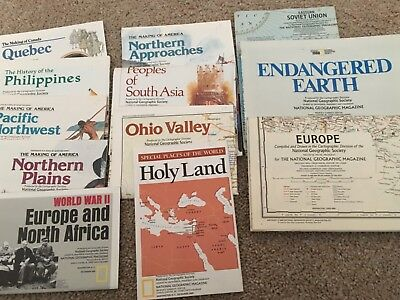 Lot of 16 National Geographic Maps. Inserts from magazines. 1984-1991