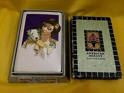 1929 Deco Playing Cards SEALED in Box LADY & Terrier DOG US American Beauty Rare