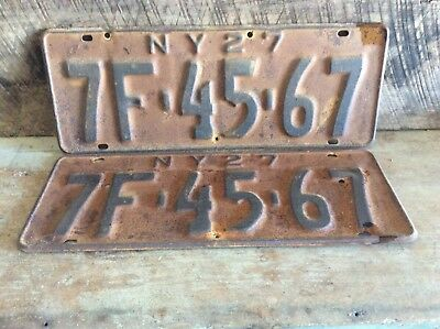 Antique Pair Of Matching NY License Plates, Rustic Non Refurbished 1927 7F 45-67