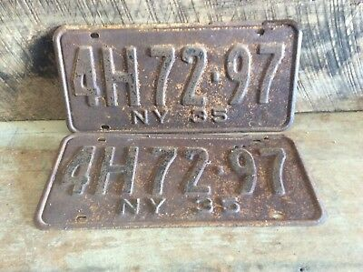 Antique Pair Of Matching NY License Plates, Rustic Non Refurbished 1935 4H 72-97