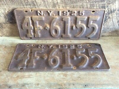 Antique Pair Of Matching NY License Plates, Rustic Non Refurbished 1925 4F 61-55