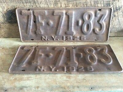 Antique Pair Of Matching NY License Plates, Rustic Non Refurbished 1926 7F 71-83