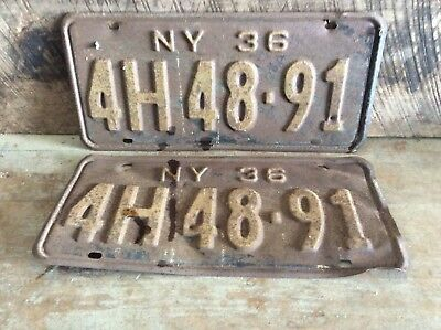 Antique Pair Of Matching NY License Plates, Rustic Non Refurbished 1936 4H 48-91