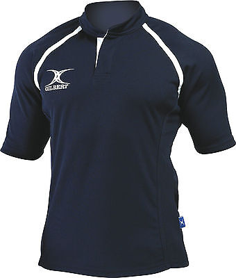 Clearance Line New 2014 Gilbert Rugby Xact Shirt Navy - Various Sizes