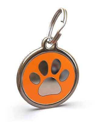 Pet Dog Cat ID Engraved Name Tag Personalised Stainless Steel Orange Paw