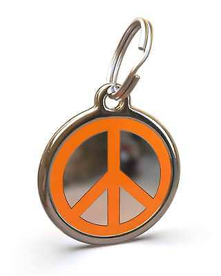 Pet Dog Cat ID Engraved Name Tag Personalised Steel Orange Peace Symbol Hippy