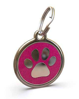 Pet Dog Cat ID Engraved Name Tag Personalised Stainless Steel Pink Glitter Paw