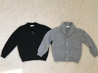 Bravo Bambino Boys Designer Sweaters 4T, Gray, Black Merino Wool Zipper Button