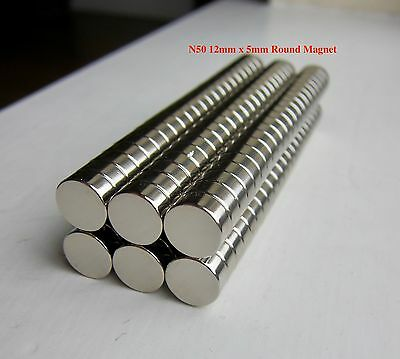 N50 12mm x 5mm Super Strong Round Magnets Rare Earth Magnet 10PACK