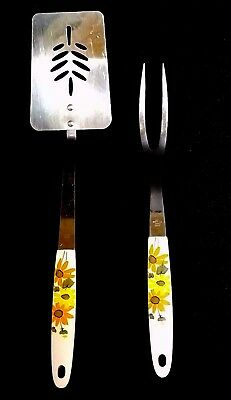 """Vintage Ekco Slotted 14"""" Spatula 12"""" Meat Fork Stainless Country Garden 1970s US"""