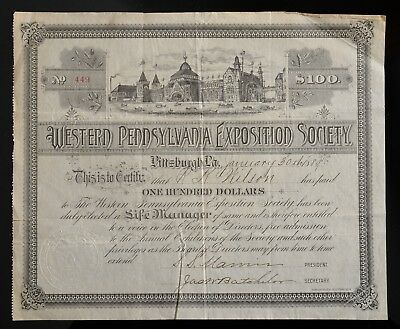 1889 S.S. MARVIN found. Nabisco Donation certificate West. PA Exposition Society