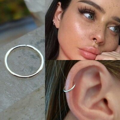 Thin Fake Nose Ring Septum Ring Hoop Cartilage Tragus Helix Small Thin Piercing