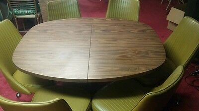 1960s  Mid Century Modern CHROMCRAFT Kitchen Table / 6  Swivel Chairs