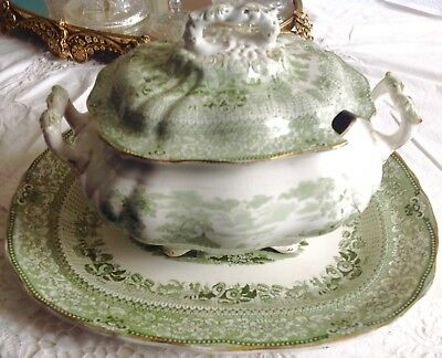 "Antique ""GRECIAN"" Transferware Covered Soup Taureen Green With Underplate"