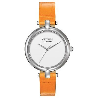 Citizen Eco-Drive Women's EM0250-01A Silhouette Orange Leather Band 34mm Watch