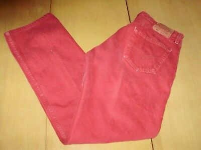 VINTAGE LEVIS 501 RED MAROON JEANS made in USA 32 x 30