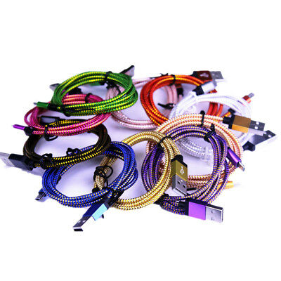 5 pack 6Ft Metal Braided fast charging micro usb Charger Cord For Smart Phones